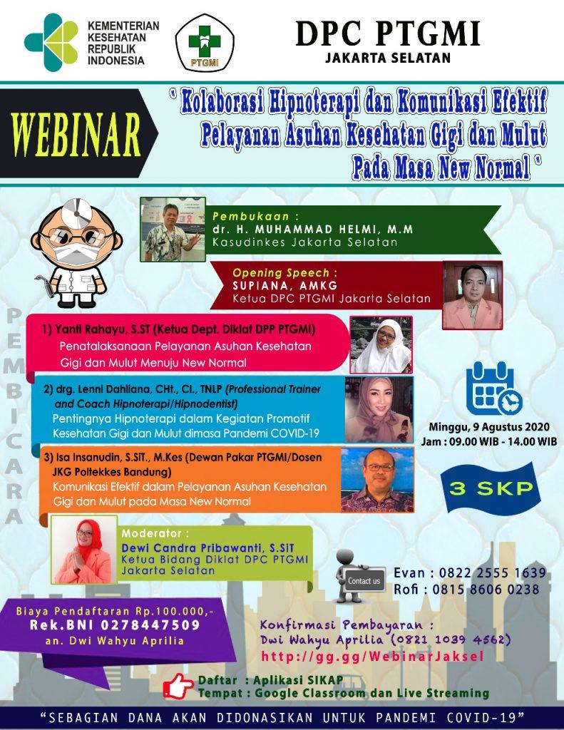 WEBINAR DPC PTGMI JAKARTA SELATAN, 9 Agustus 2020